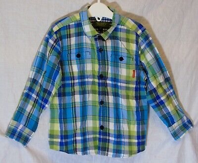 Boys Ted Baker Blue Green Check Smart Casual Long Sleeve Shirt Age 2-3 Years