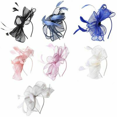 Feather Hair Fascinator Headband Wedding Royal Ascot Races Net Hoops Bunny Hair