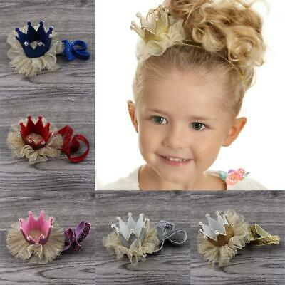 Baby Girls Rhinestone Crystal Pearl Crown Hair Band Glitter Headband