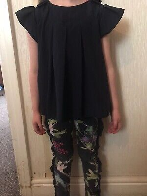 baker by ted baker girls Blue  top and Floral leggings set age5
