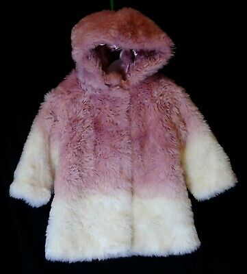 Baby Girls Matalan Pink White Faux Fur Warm Winter Hooded Coat Age 12-18 Months