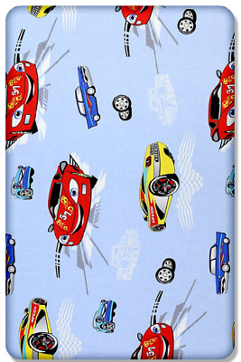 BABY FITTED COT SHEET PRINTED DESIGN 100% COTTON MATTRESS 120x60cm, Cars