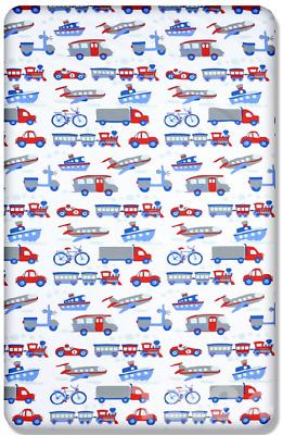 BABY FITTED COT SHEET PRINTED DESIGN 100% COTTON MATTRESS 120x60cm, Vehicles