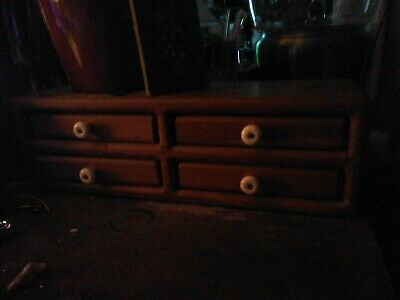 Antique Primitive 4 Drawer Wood Storage Chest Box Spice Apothecary