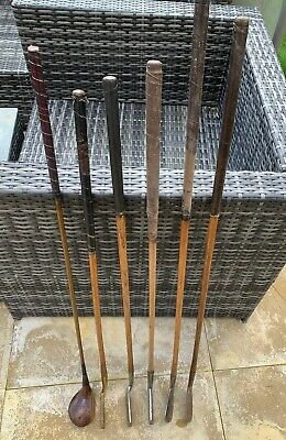 Joblot Hickory Golf Clubs R/hand 1 Wood 2 Iron 3 Putters 6 Clubs In Total