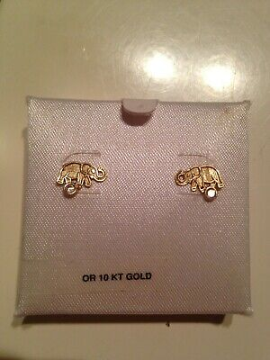Beautiful NEW children 10kt gold earrings elephant with little clear stone