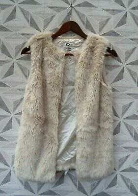 New Girls Faux Fur Longline Cream Waistcoat Fully Lined Age 11 / 12 Years   A38