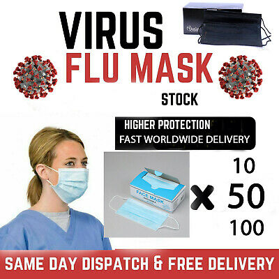50 x FLU VIRUS MEDICAL DUST FACE MASK METAL STRIP SURGICAL QUALITY