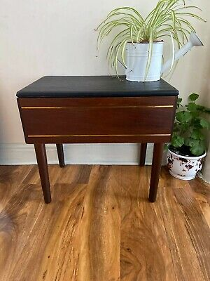 Vintage Retro Mid Century Sewing Crafts Wooden Box On Legs Black Vinyl Stool
