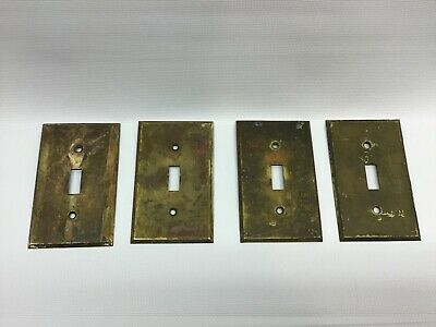 4 Vtg Arts & Crafts Solid Brass not Copper Toggle Switch Plate Covers Hardware