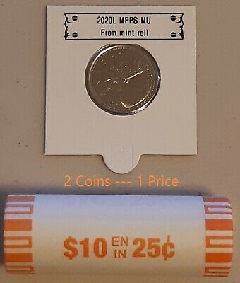 CANADA 2020 New 2x25 cents ORIGINAL CARIBOU Circulation coin (UNC From roll)