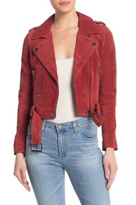 Blank NYC Suede Moto Jacket Red Size Small
