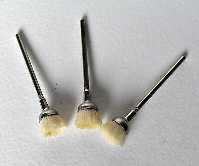 3Pc Rotary Bristle Cup Brush -12mm Nylon 2.3mm Stem For Dremel Jewellery & Hobby