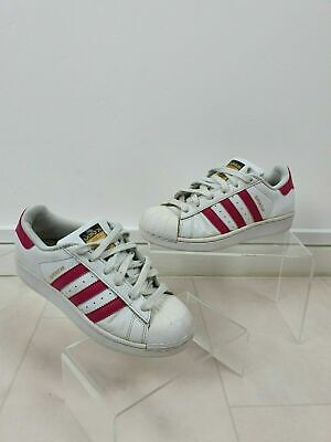 Adidas La Marque Superstar White & Pink Girls Womens Trainers UK Size 3