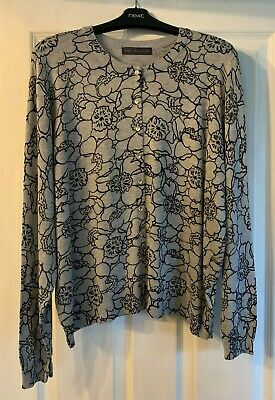 Marks and Spencer Ladies Grey Black Floral Pattern Cardigan Size 20