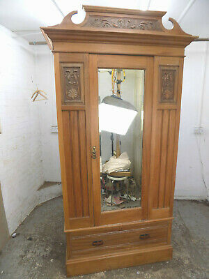 wardrobe,drawer,bedroom,mirrored door,hanging,antique,edwardian,walnut,carved