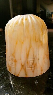 Lovely 1930'S Art Deco Marbled Glass Light Lamp Shade Vintage.excellent Conditn