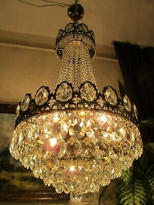 Antique Vnt.big French Basket Style Crystal Chandelier Lamp Light Luster 1940's.