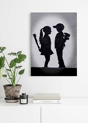 Banksy Kid Love Hate - Canvas/Framed Wall Art Picture Print - Black & White