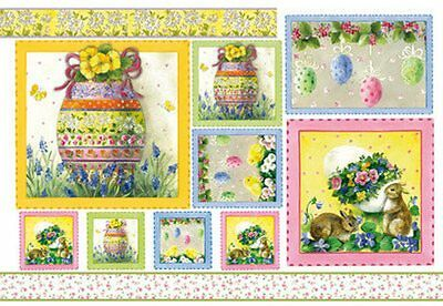4 Single Paper Table Napkins for Decoupage Easter Egg Chicken Bunny Flowers
