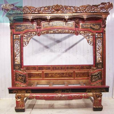 Chinese Bed Canopy Wedding Opium Intricately Carved Antique Red Lacquer & Gold