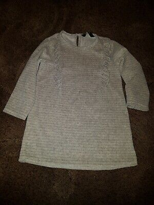 Baby Girls Grey Glittery Soft Touch Dress Age 18-24 Months