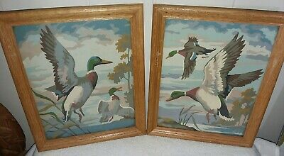 Vintage Pair of Paint By Numbers Framed Mallard Ducks, Signed 1958