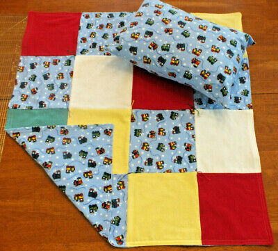 Homemade Toy Train Baby Infant Nursery Blanket Hand Tied Quilted w/PillowCase