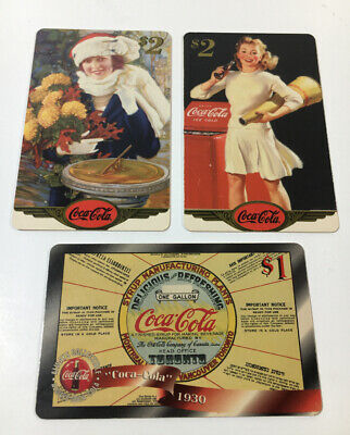 1996 Coca Cola Phone Cards Lot Of 3 Rare Sample/ Proof Cards (7193)