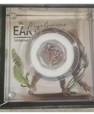 Royal mint 50p Dinosaur Megalosaurus Coloured SILVER PROOF coin With Box And Coa