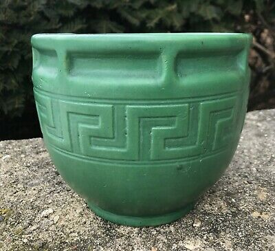 Brush McCoy Matte Green Arts and Crafts Greek Key Planter