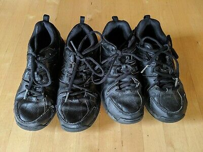 2x New Balance children's/kid's US3 UK2.5 35 black leather shoes runners sneaker