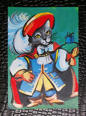 """Original art by Bastet """"Puss in Boots"""" OOAK hand painted ACEO"""