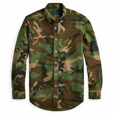 NWT Polo Ralph Lauren Men CAMOUFLAGE Button Down Classic Fit Oxford Shirt LARGE