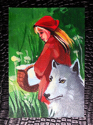 """ACEO """"Little Red Riding Hood"""" Fairy Tale Original Illustration by Bastet"""