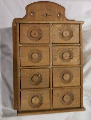 Primitive Antique Wooden Spice Cabinet Kitchen Apothecary Eight Drawers