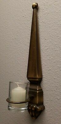 Single Candle Wall Sconce Antique Brass 14 Inches Tall