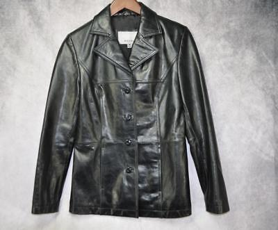 Wilsons Leather Womens Maxima Button Down Pockets Lined Jacket Size Medium Black