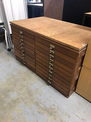 Rare Antique Vintage Wooden Oak Machinist Apothecary 20 Drawer Cabinet