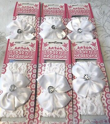 6 X Soft Touch Baby Girls White Lace Bow Sparkle Gem Headband Wholesale Job Lot