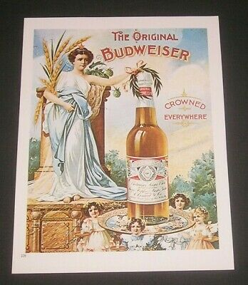 Budweiser Beer, 1988 Book Plate Print, Vintage Breweriana Collectible