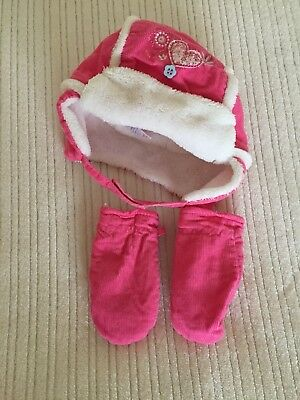 Girls Winter Bobble Hat And Mittens Size 12-24 Months