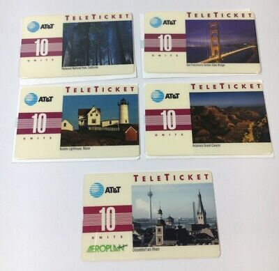 1992 AT&T Teleticket Phone Card Lot Of 5 (7261)