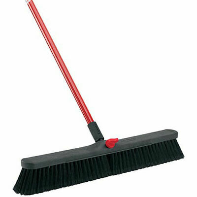 "LIBMAN Push Broom with Resin Block - 24"" - Fine-Duty Bristles, Lot of 4"