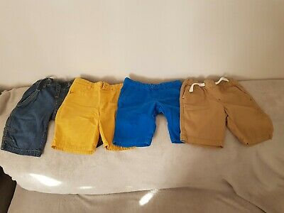 Boys Kids Rebel, Tu & Aldi Shorts x 4  Jean, Blue, Yellow & Beige 3-4 yrs