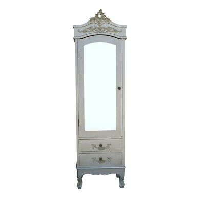 Antique French Chateau Silver Single Armoire Mirror Door Shabby Chic Wardrobe