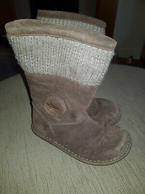 Toddlers Children Brown Suede Sheepskin Style Boots UK Kids Size 9