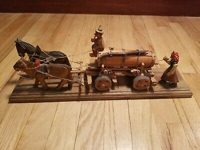 Vtg German Hand Carved Horse, Ox, & Beer Wagon With Husband & Wife Figures