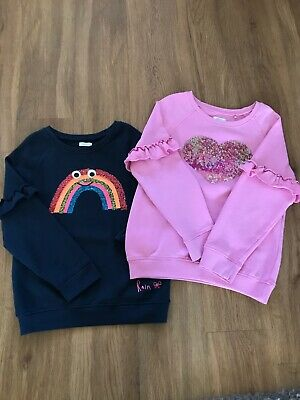 2 Girls Next Jumpers Sweatshirts Age 8 Years Beautiful Pink And Navy