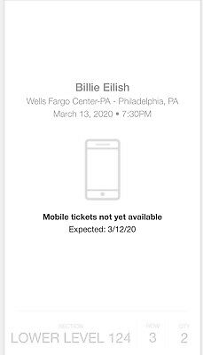 billie eilish concert tickets...2 TIX...ELECTRONIC DOWNLOAD available MARCH 12
